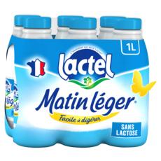 LACTEL Matin léger Lait demi-écrémé sans lactose UHT 6x1L
