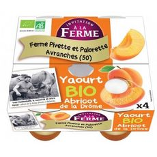 INVITATION A LA FERME Yaourt sur lit d'abricot de la Drôme bio 4x125g
