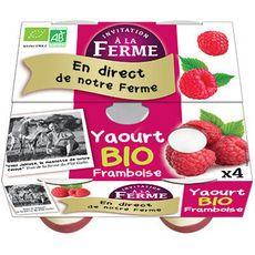 INVITATION A LA FERME Yaourt sur lit de framboise bio 4x125g