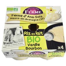 INVITATION A LA FERME Riz au lait vanille bourbon bio 4x125g
