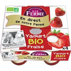 INVITATION A LA FERME Yaourt fraise bio 4x125g