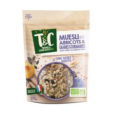 TERRES ET CEREALES BIO Muesli de céréales aux abricots et graines gourmandes 375g