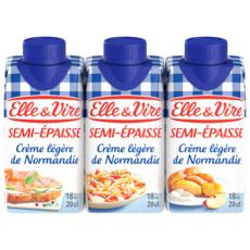 ELLE & VIRE Crème semi-épaisse légère 18%MG UHT 3x20cl
