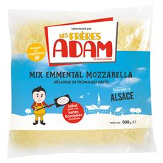 LES FRERES ADAM Mix emmental et mozzarella râpés 500g