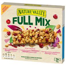 NATURE VALLEY Barres énergétiques full mix cranberries, cacahuètes, graines et beurre de cacahuètes 3 barres 3x40g