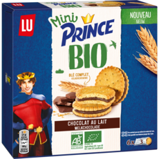 PRINCE Mini Biscuits bio fourrés au chocolat 6 sachets de 3 126g