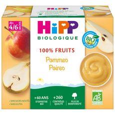 HIPP Petit pot dessert pommes poires bio dès 4 mois 4x100g