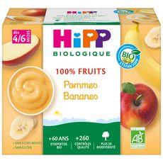 HIPP Petit pot dessert pommes bananes bio dès 4 mois 4x100g