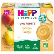 HIPP Petit pot dessert pommes coings bio dès 4 mois 4x100g