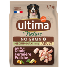 ULTIMA NATURE Medium maxi croquettes sans céréale dinde pour chien 2,7kg