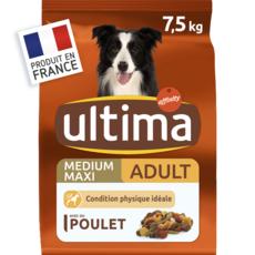 ULTIMA Medium maxi adulte croquettes poulet légumes riz céréales pour chien  7,5kg