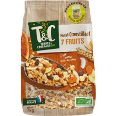 TERRES ET CEREALES BIO Muesli de céréales croustillantes aux 7 fruits 1kg