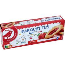 AUCHAN Barquettes à la fraise, sachets fraîcheur 3x6 biscuits 120g