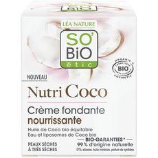 SO'BiO étic SO BIO ETIC Crème fondante nourrissante à l'huile de coco bio peaux sèches à très sèches