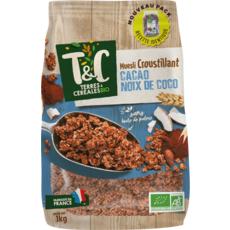 TERRES ET CEREALES BIO Muesli de céréales croustillantes cacao et noix de coco 1kg