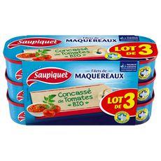 SAUPIQUET Filets de maquereaux concassés à la tomate bio 3x120g
