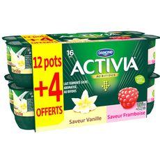 ACTIVIA Yaourt bifidus panaché vanille et framboise dont 4 pots offerts 16x125g