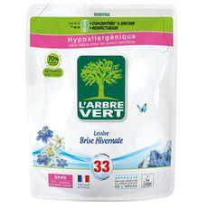 L'ARBRE VERT Recharge lessive liquide concentrée brise hivernale hypoallergénique 33 lavages 1,5l