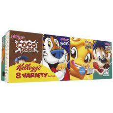 KELLOGG'S Assortiment de mini boites de céréales Miel Pops-Coco Pops-Frosties 8 boites 200g