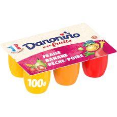 DANONINO Petits suisses fraise-pêche poire-banane 6x100g