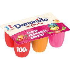 DANONINO Petits suisses aux fruits Fraise-Framboise-Abricot 6x100g