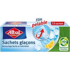 ALBAL Sachets glaçons avec film pelable 15 sachets