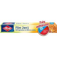 ALBAL Film alimentaire 2en1 réfrigérateur et micro-ondes 20m 1 rouleau