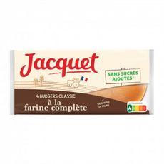 JACQUET Pains burgers classic à la farine complète sans sucres ajoutés 4 pièces 220g
