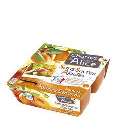 Charles & Alice pomme abricot sans sucre ajouté 4x100g