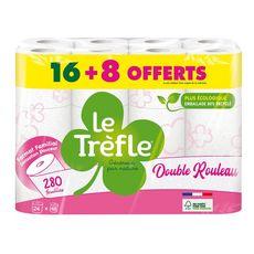 LE TRÈFLE Papier toilette double rouleau sensation douceur blanc 16 rouleaux + 8 gratuits