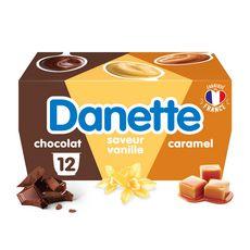 DANETTE Crème dessert chocolat caramel vanille 12x115g