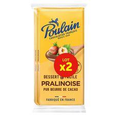 POULAIN Tablette pâtisserie pralinoise pur beurre de cacao 2 pièces 2x180g
