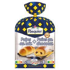 PASQUIER Pains au lait + Pains au chocolat recette eu levain 8 pains au chocolat10 pains au lait 710g