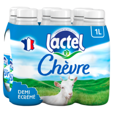LACTEL Lait de chèvre demi-écrémé UHT 6x1l
