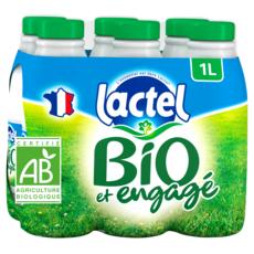 LACTEL Lait écrémé bio UHT 6x1l