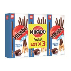 MIKADO &go biscuits pocket nappés de chocolat au lait Lot de 3 3x39g