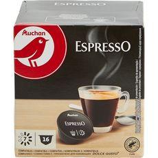 AUCHAN Capsule de café espresso compatibles Dolce Gusto 16x7g 112g