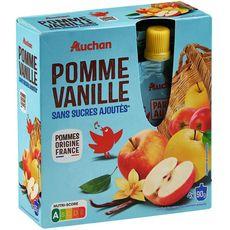 AUCHAN Gourdes pomme vanille sans sucres ajoutés 4x90g