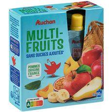 AUCHAN Gourdes multi-fruits sans sucres ajoutés 4x90g