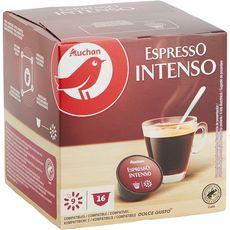 AUCHAN Capsule de café espresso intenso 16x7g 112g
