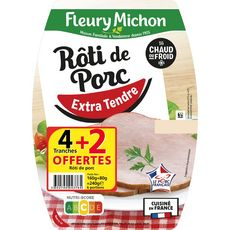 FLEURY MICHON Rôti de porc extra tendre 4 tranches +2 offertes 240g