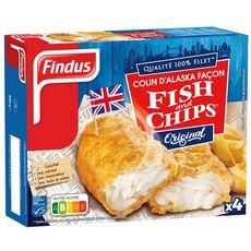 FINDUS Filet de colin d'Alaska façon fish & chips MSC 4 pièces 400g