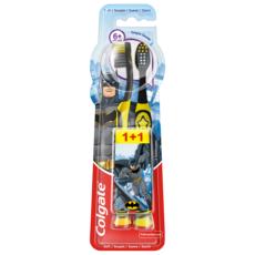 COLGATE Brosse à dents enfant  Batman/Wonder Woman souple +de 6 ans x2 2 brosses