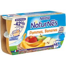 NATURNES Petits pots dessert pommes bananes dès 6 mois 4x130g