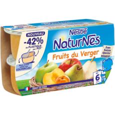 NATURNES Petits pots dessert fruits du verger dès 6 mois 4x130g