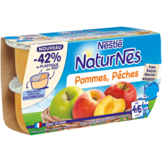 NATURNES Petits pots dessert pommes pêches dès 6 mois 4x130g