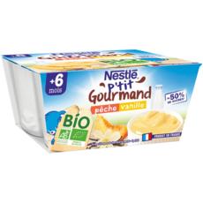 NESTLE P'tit gourmand pot dessert lacté pêche vanille bio dès 6 mois 4x90g