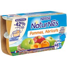 NATURNES Petits pots dessert pommes abricots dès 6 mois 4x130g