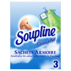 SOUPLINE Sachet armoire grand air neutralise les odeurs 3 sachets