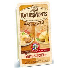 RICHESMONTS Duo Raclette Fromage nature et fumée sans croûte 2x8 tranches 420g